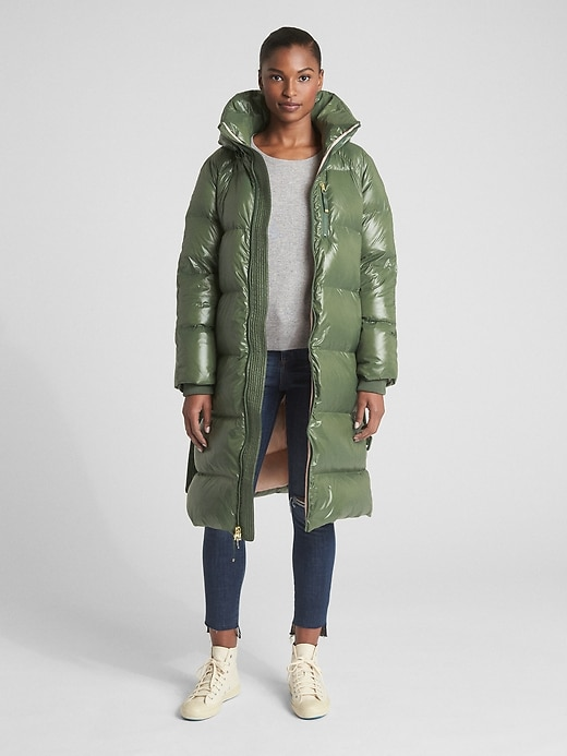 Long High Shine Down Puffer Coat by Gap
