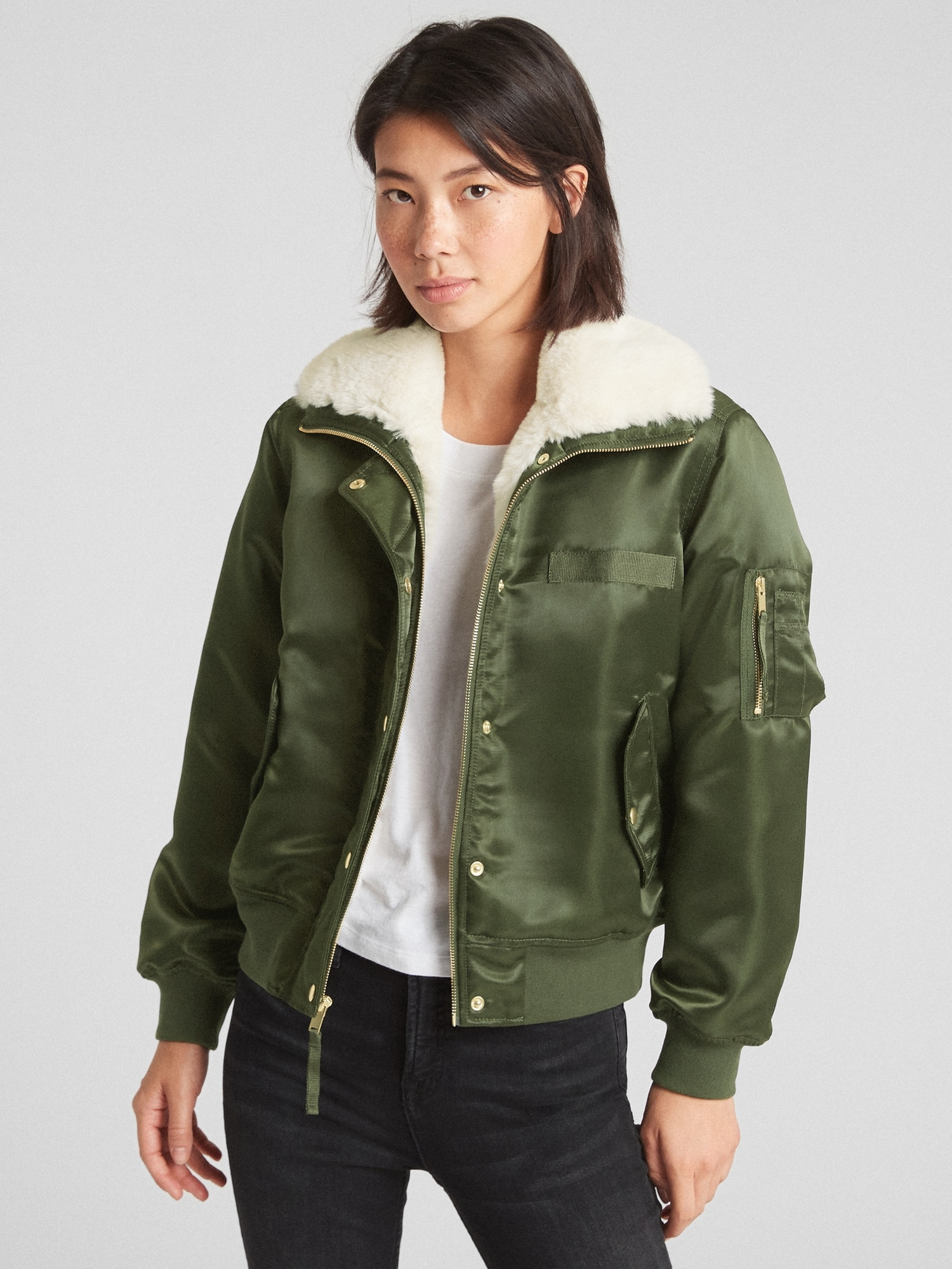 Faux Fur Lined Bomber Jacket Gap