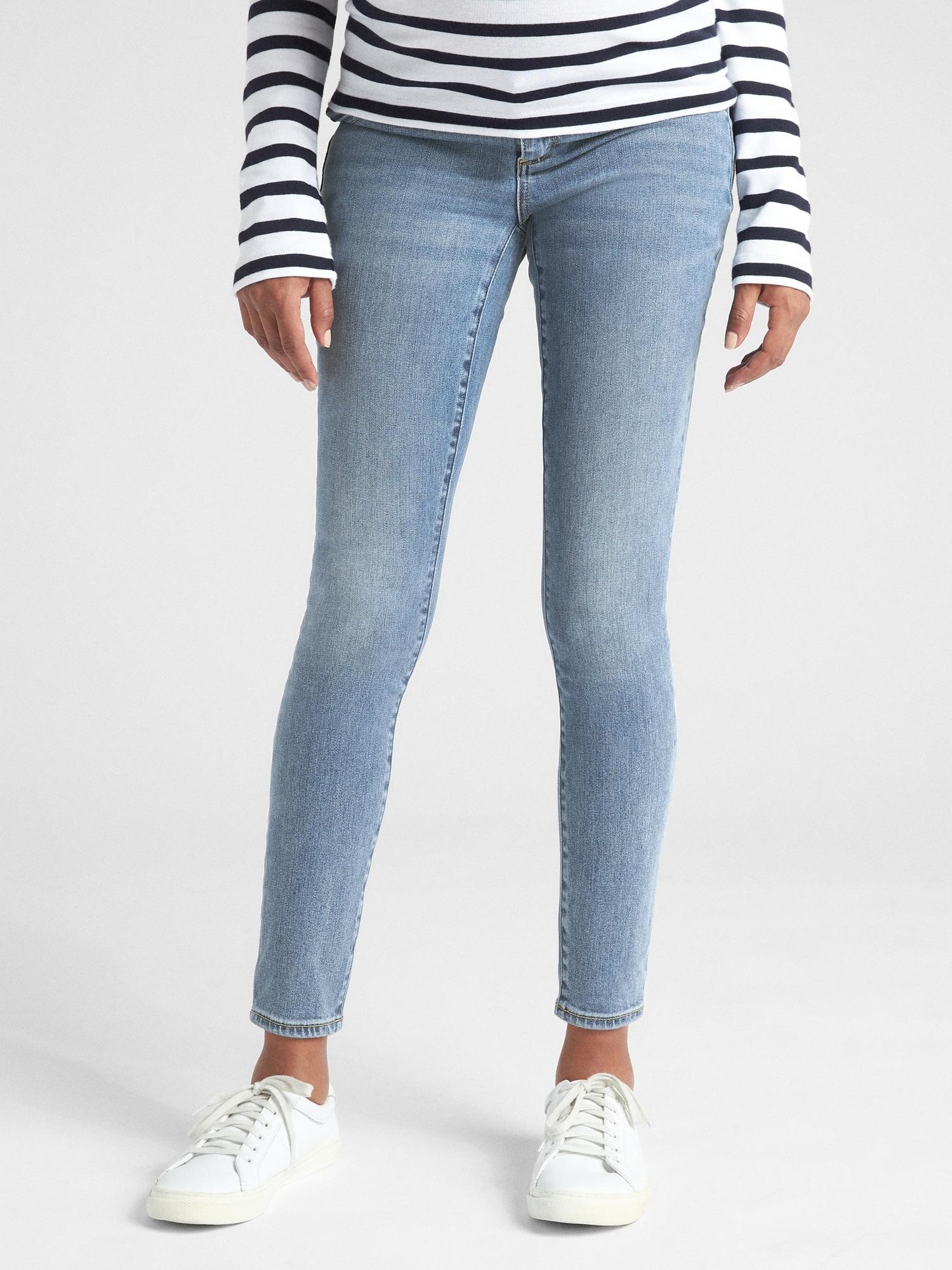 2e1ae887547c3 Maternity Soft Wear Inset Panel True Skinny Jeans | Gap