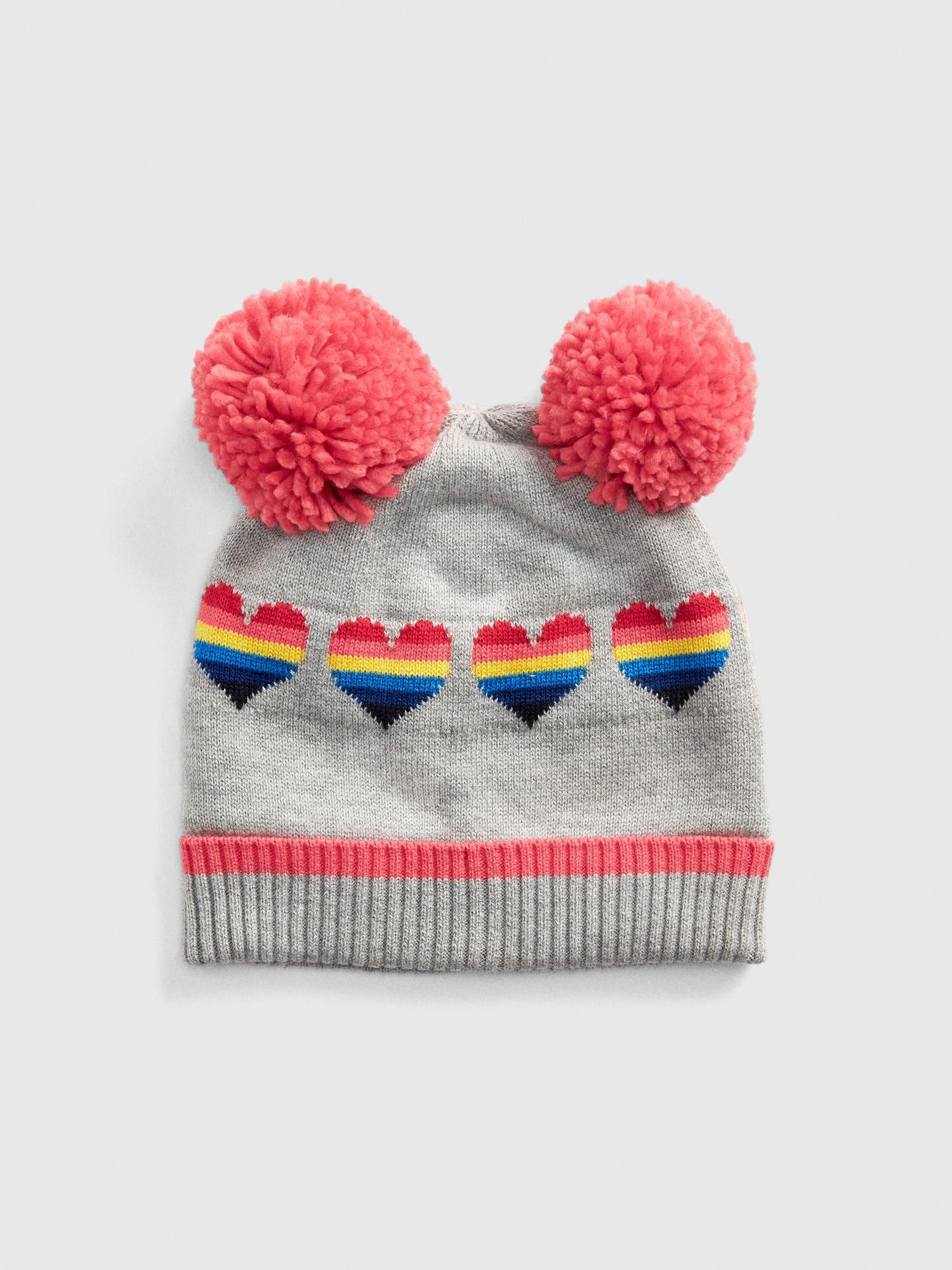 Pom Rainbow Heart Beanie  91af1559d73d