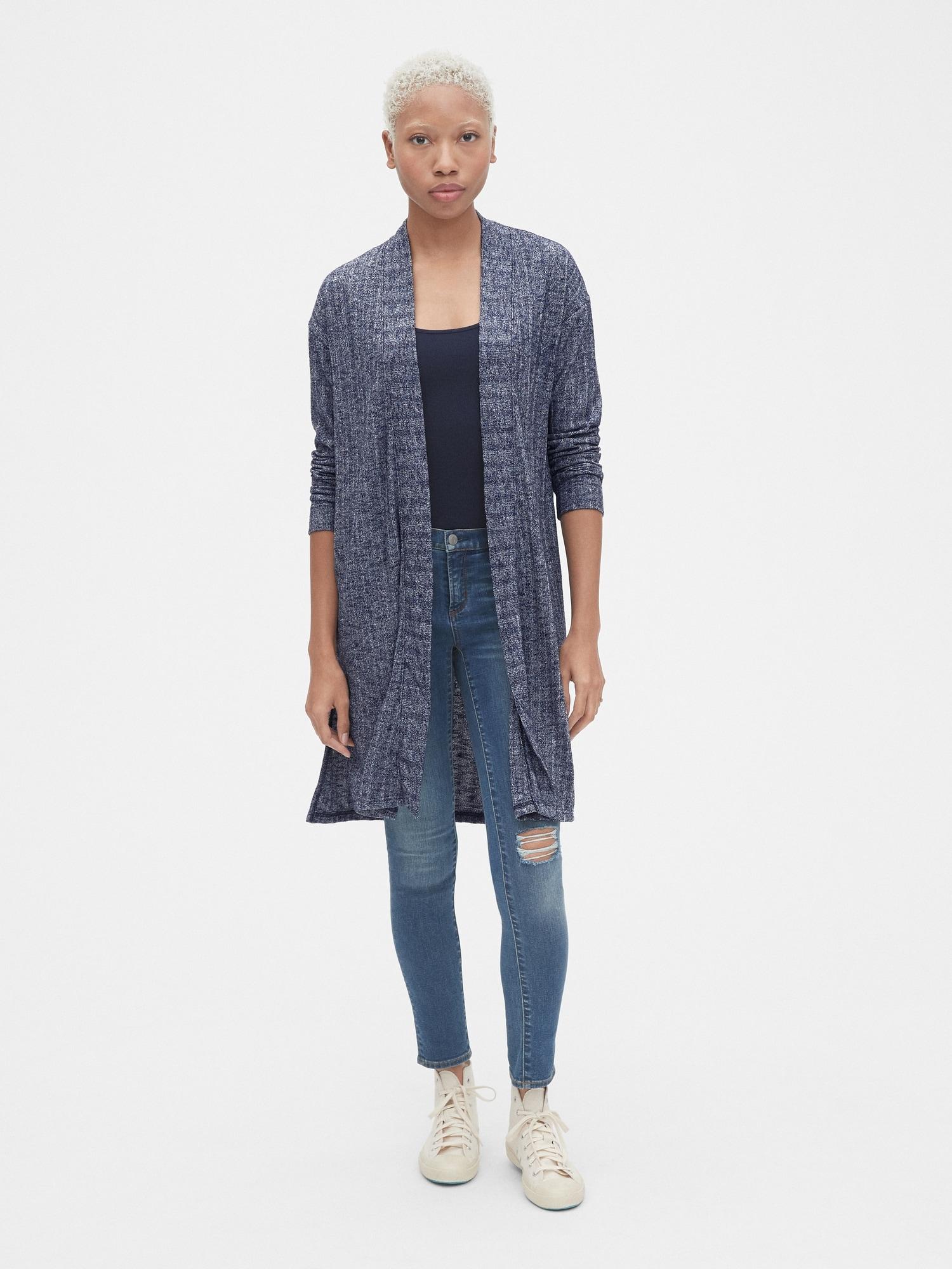 68551adc2a Softspun Ribbed Longline Open-Front Cardigan Sweater | Gap