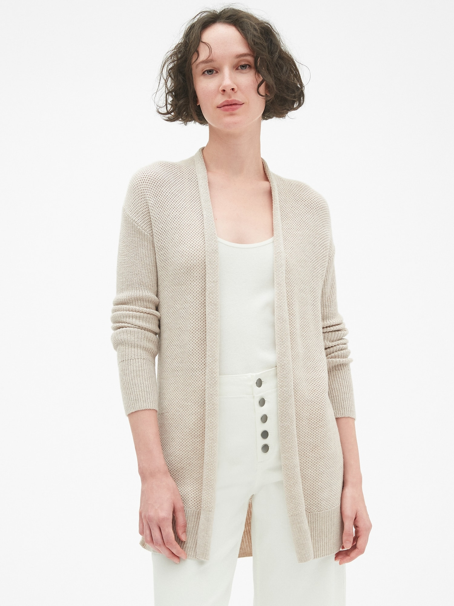 In Merino Brooklyn Gap Blend Open Sweater Front Cardigan Wool AaqIwHF