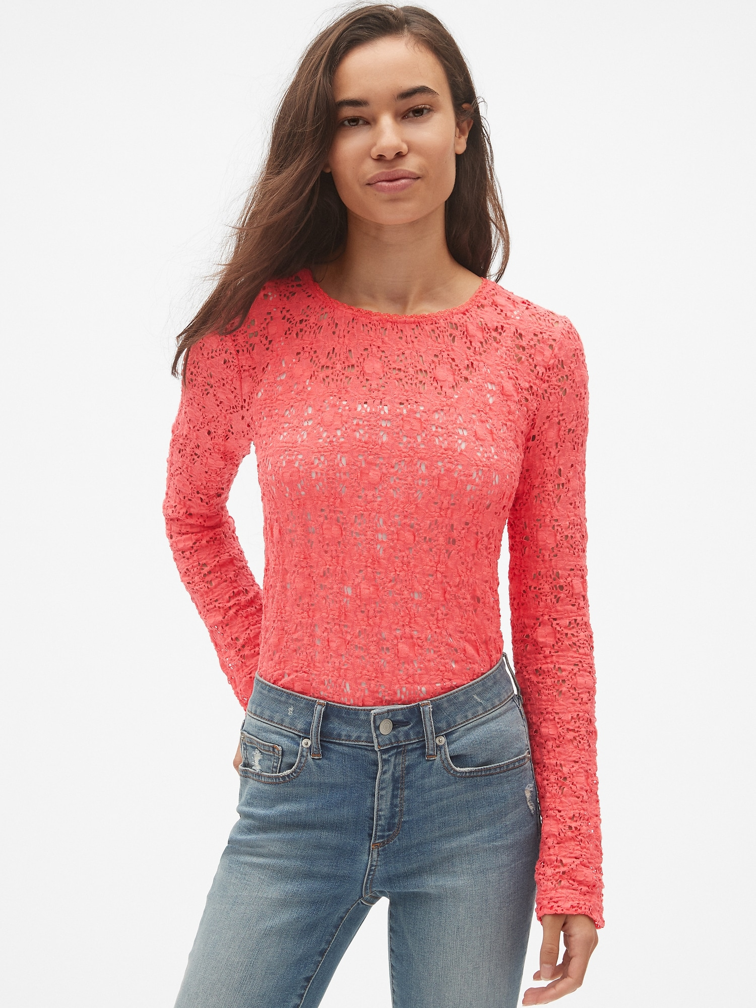 7b15d40c02227 Long Sleeve Crewneck Top in Pucker Lace