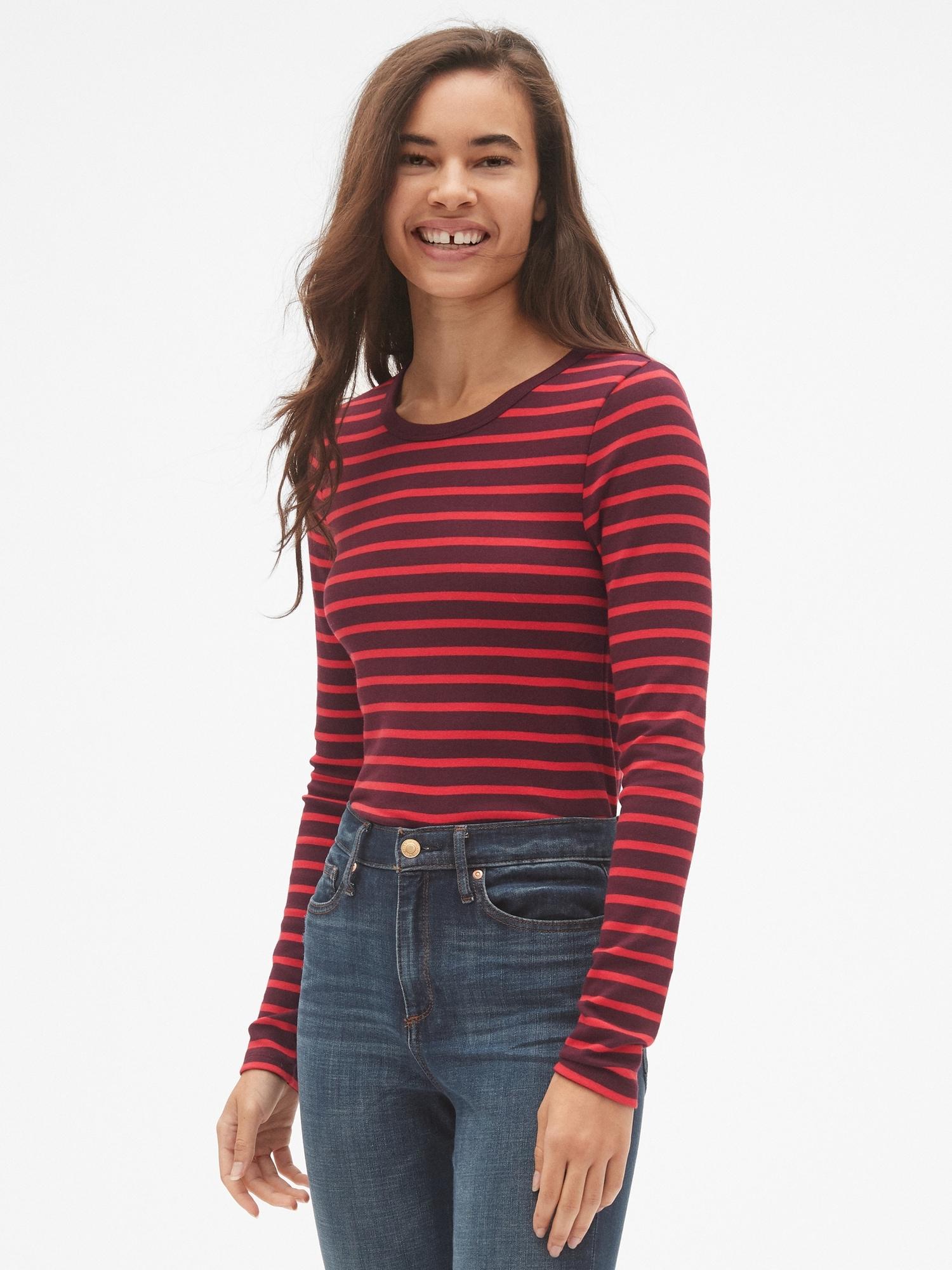 8950622e Modern Stripe Long Sleeve Crewneck T-Shirt | Gap
