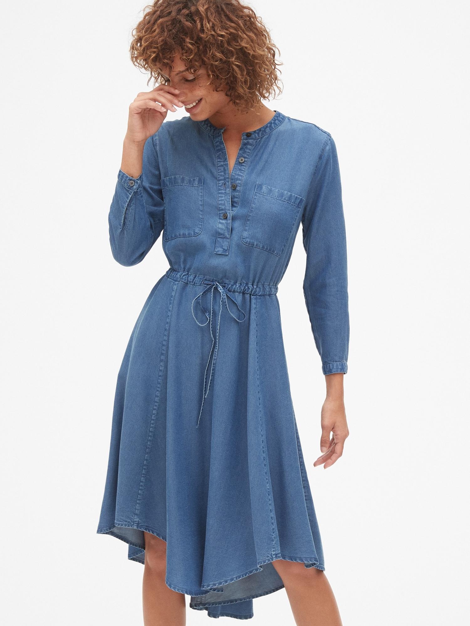 5e33e2b8469 Perfect Long Sleeve Tie-Waist Shirtdress in TENCEL™