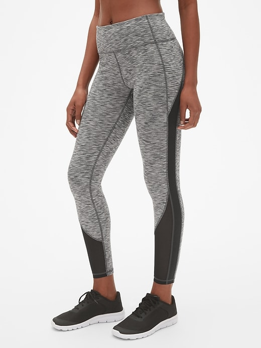 Gap Fit Blackout Spacedye Mesh Insert Full Length Leggings by Gap