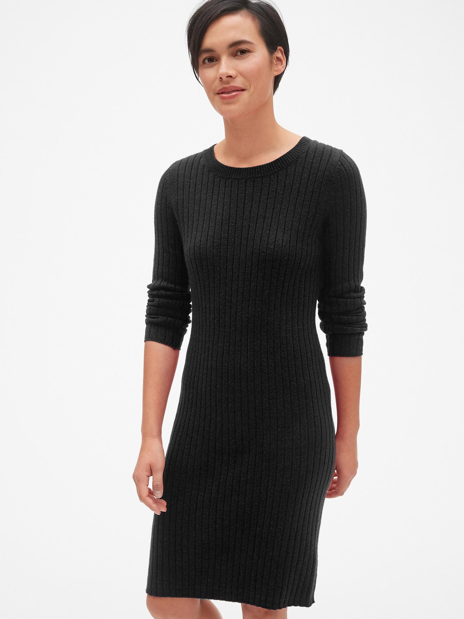 76609ba943 Cozy Ribbed Crewneck Sweater Dress