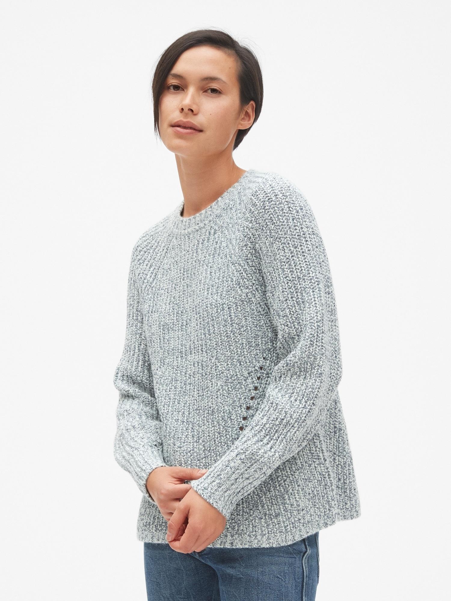 f1134da0e Marled Pointelle Crewneck Pullover Sweater