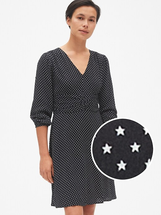 Fit And Flare Long Sleeve Ruched V Neck Dress by Gap