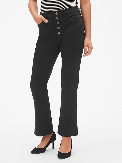 High Rise Button Fly Crop Kick Pants In Sculpt by Gap