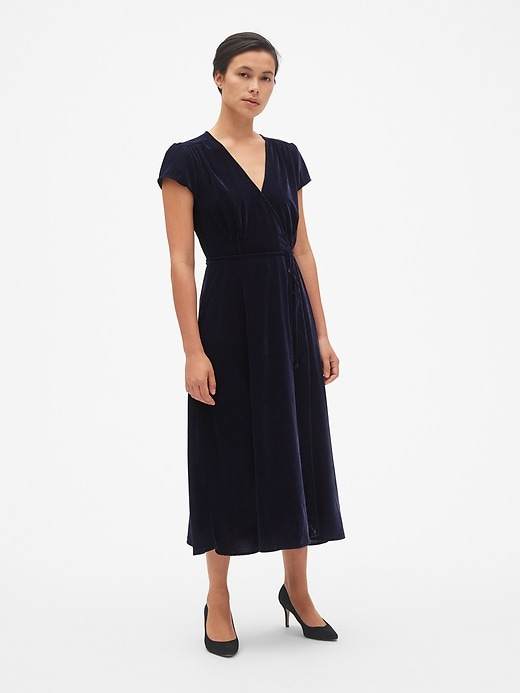 Velvet Midi Wrap Dress by Gap