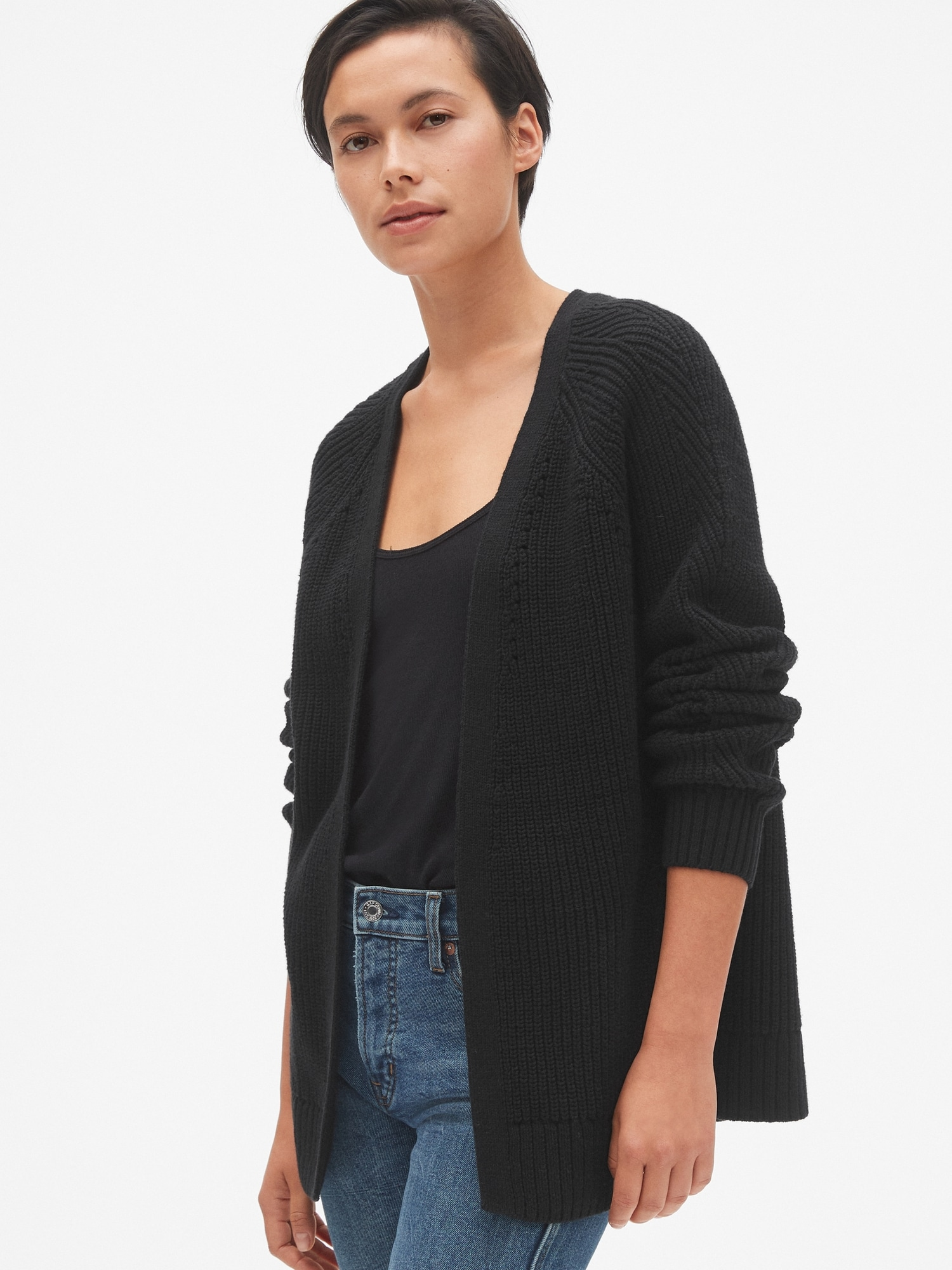 d6213aa559 Relaxed Pointelle Open-Front Cardigan Sweater