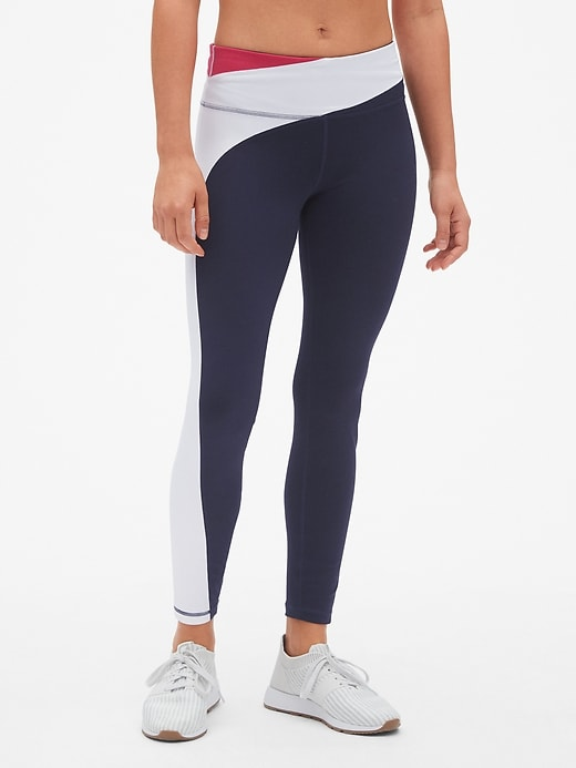 Gap Fit Asymmetrical Colorblock Full Length Leggings In Eclipse by Gap