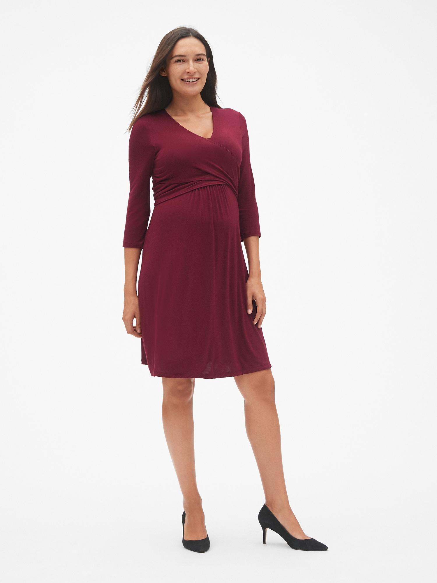 Maternity Three-Quarter Sleeve Wrap Dress  4336872e7b