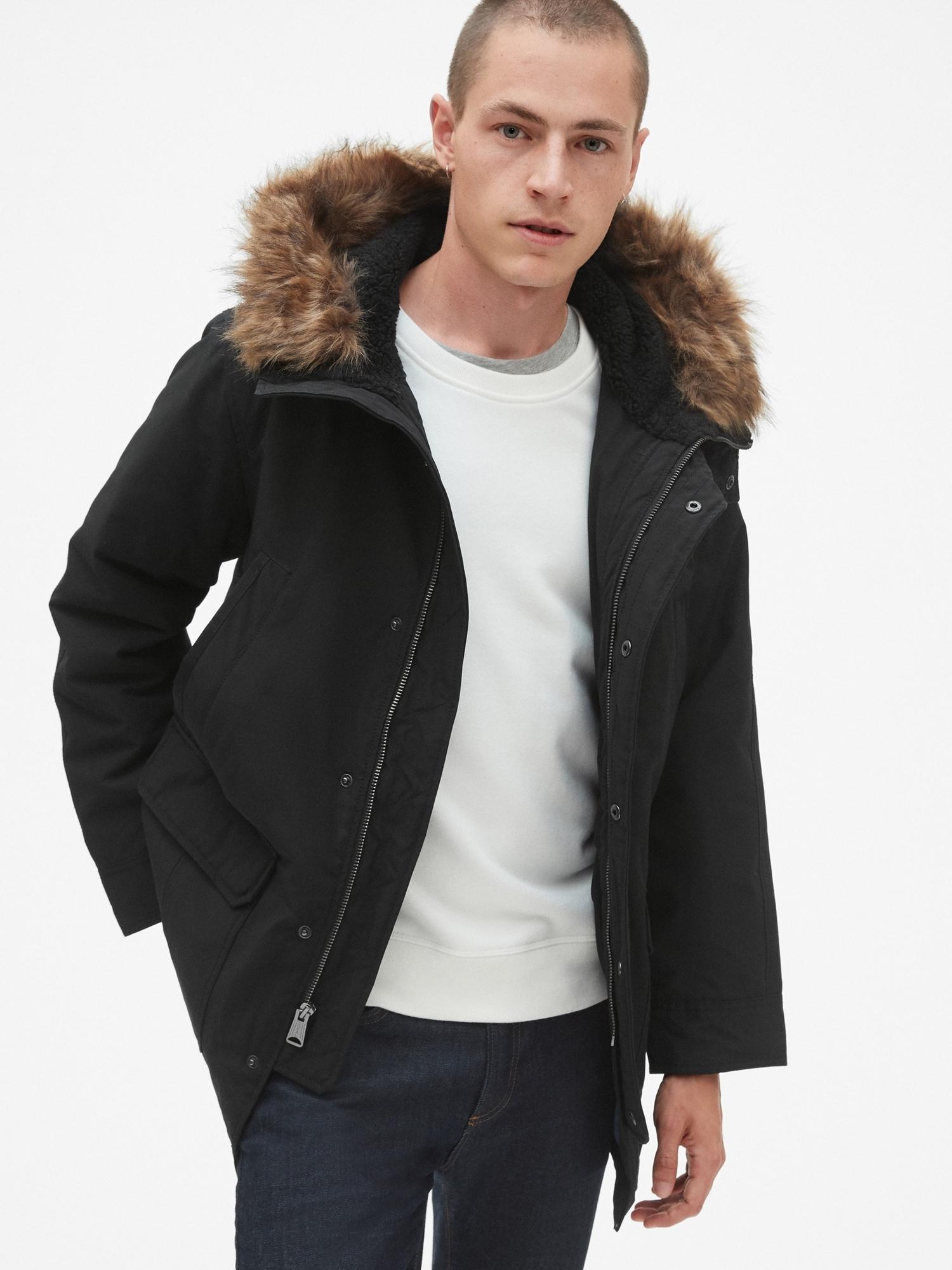 42ce2fb3b761f Hooded Parka Jacket with Faux-Fur Trim