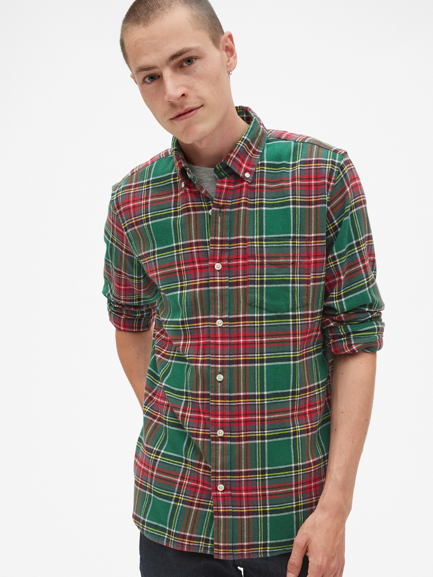 11362309007c Standard Fit Flannel Pocket Shirt