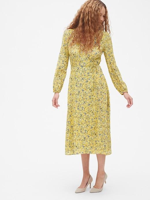Long Sleeve Flounce Wrap Midi Dress by Gap