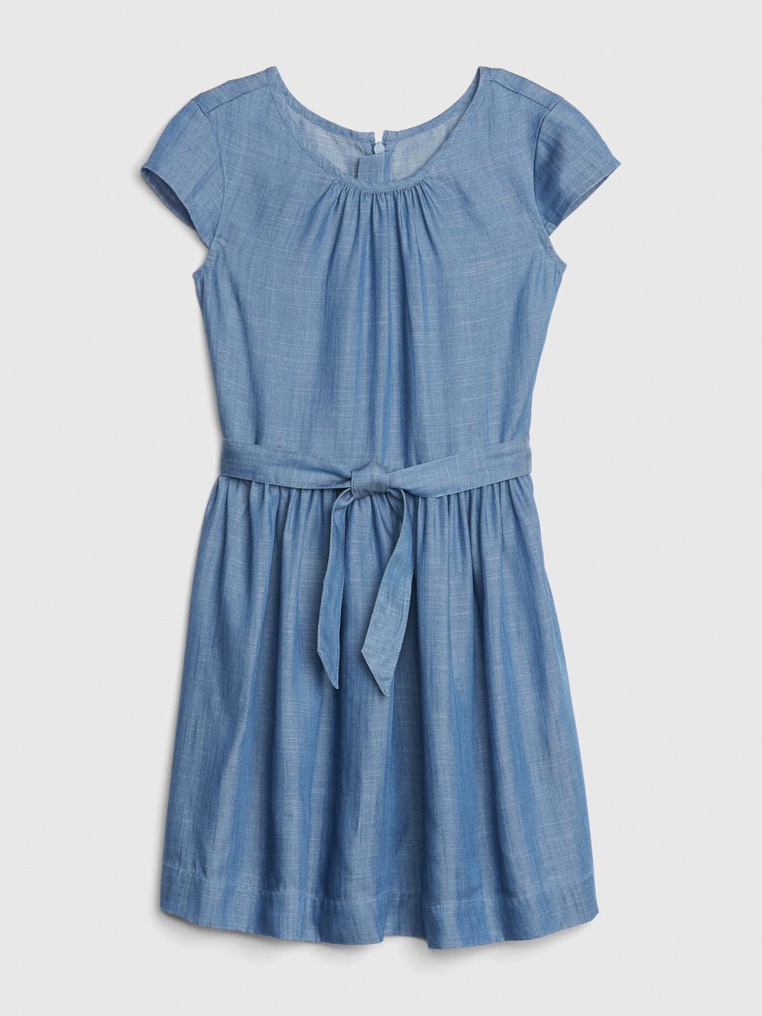 2ad98bf304 Denim Tie-Belt Dress