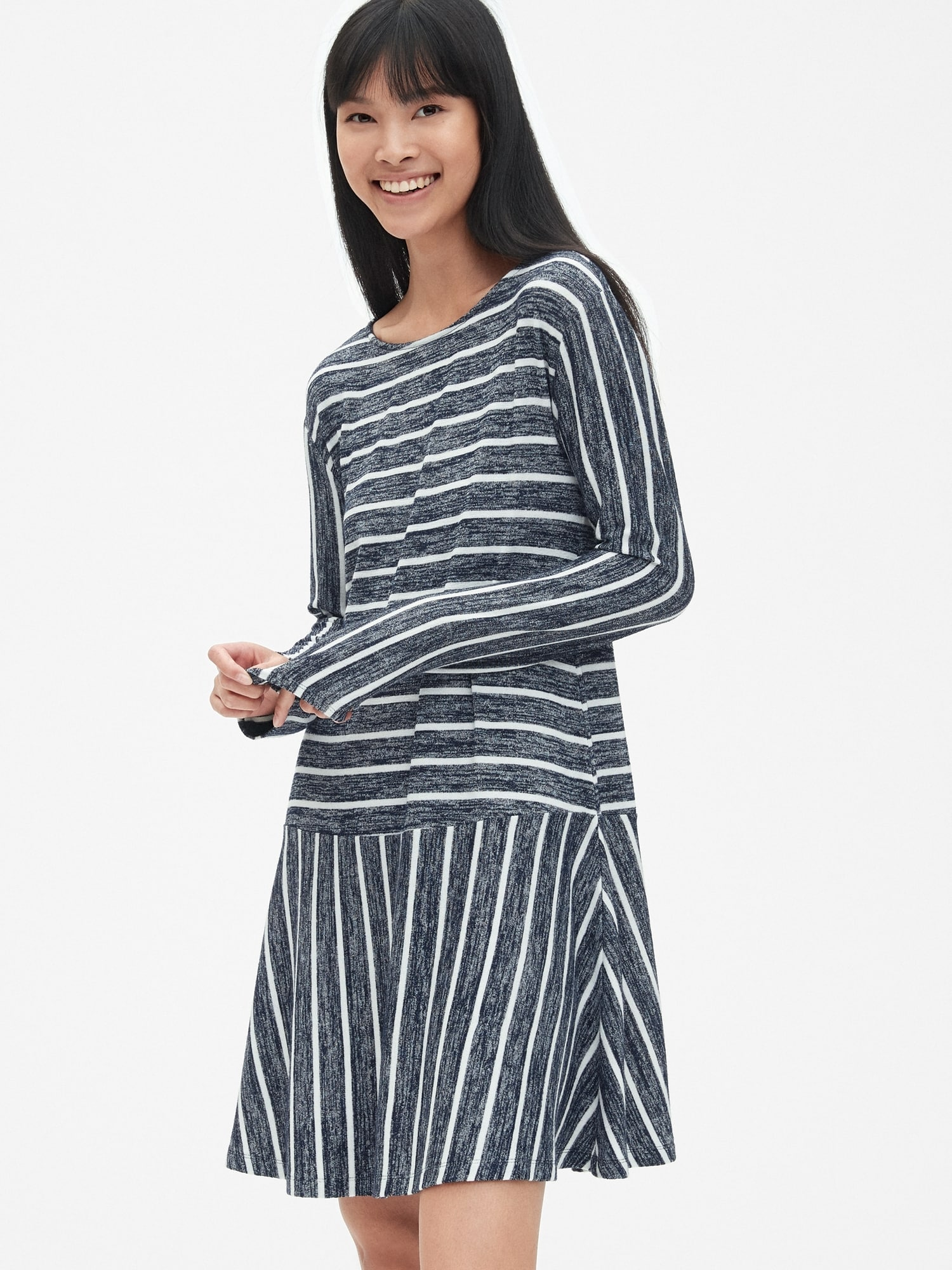 039722cb1a886 Softspun Stripe Flounce T-Shirt Dress   Gap