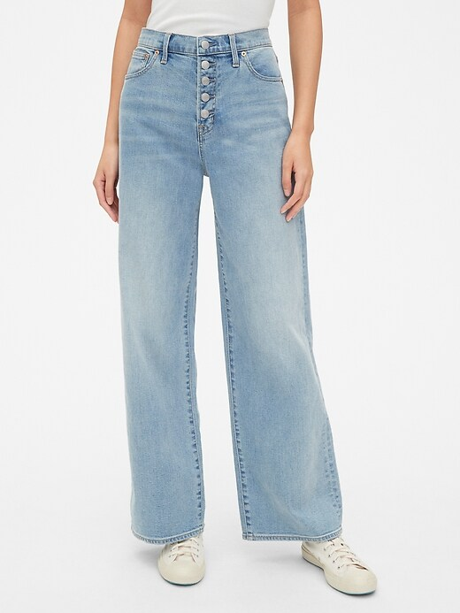 High Rise Wide Leg Jeans With Button Fly by Gap