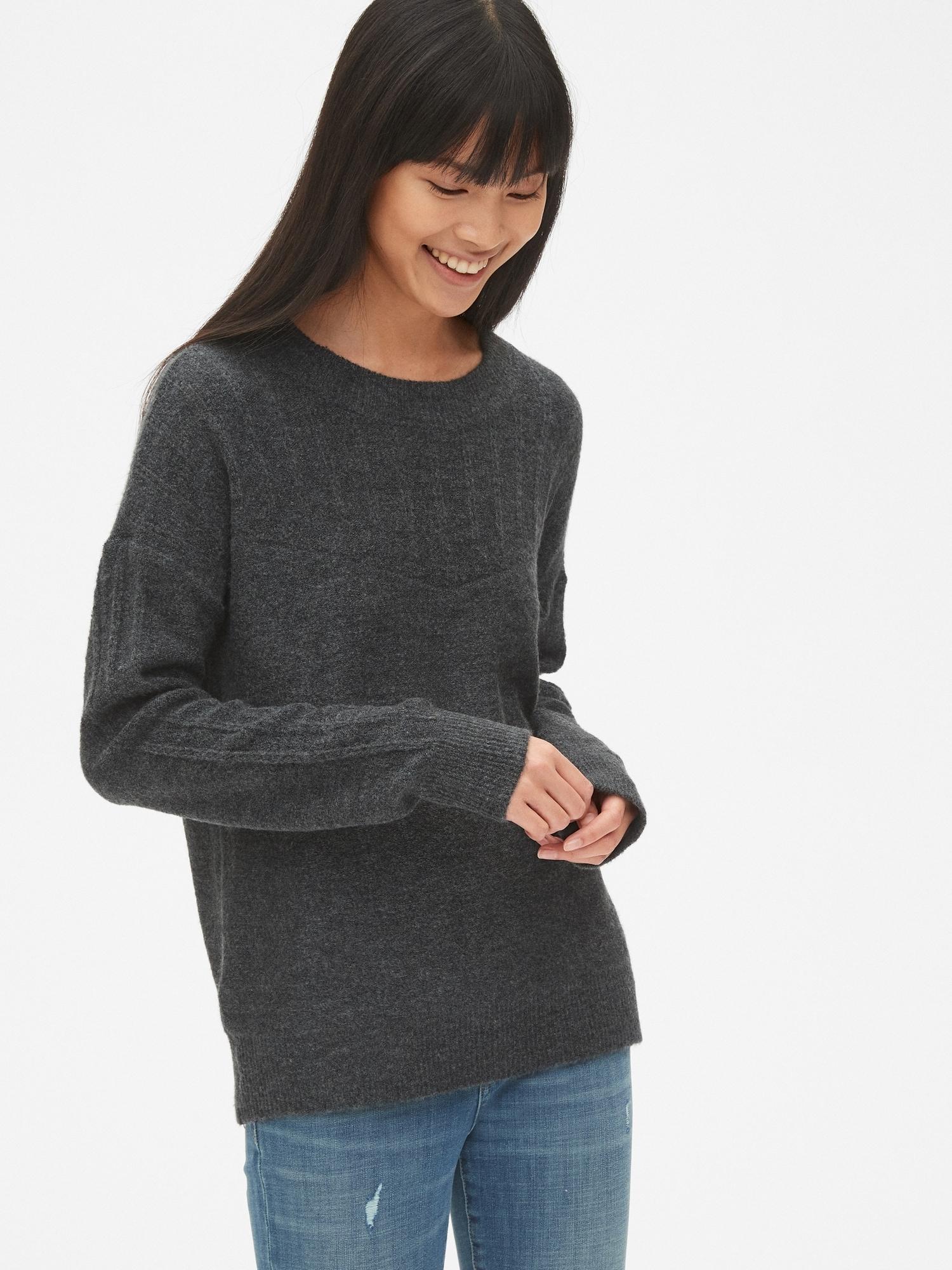 e84050c49e4c7 Lacy Pointelle Crewneck Pullover Sweater