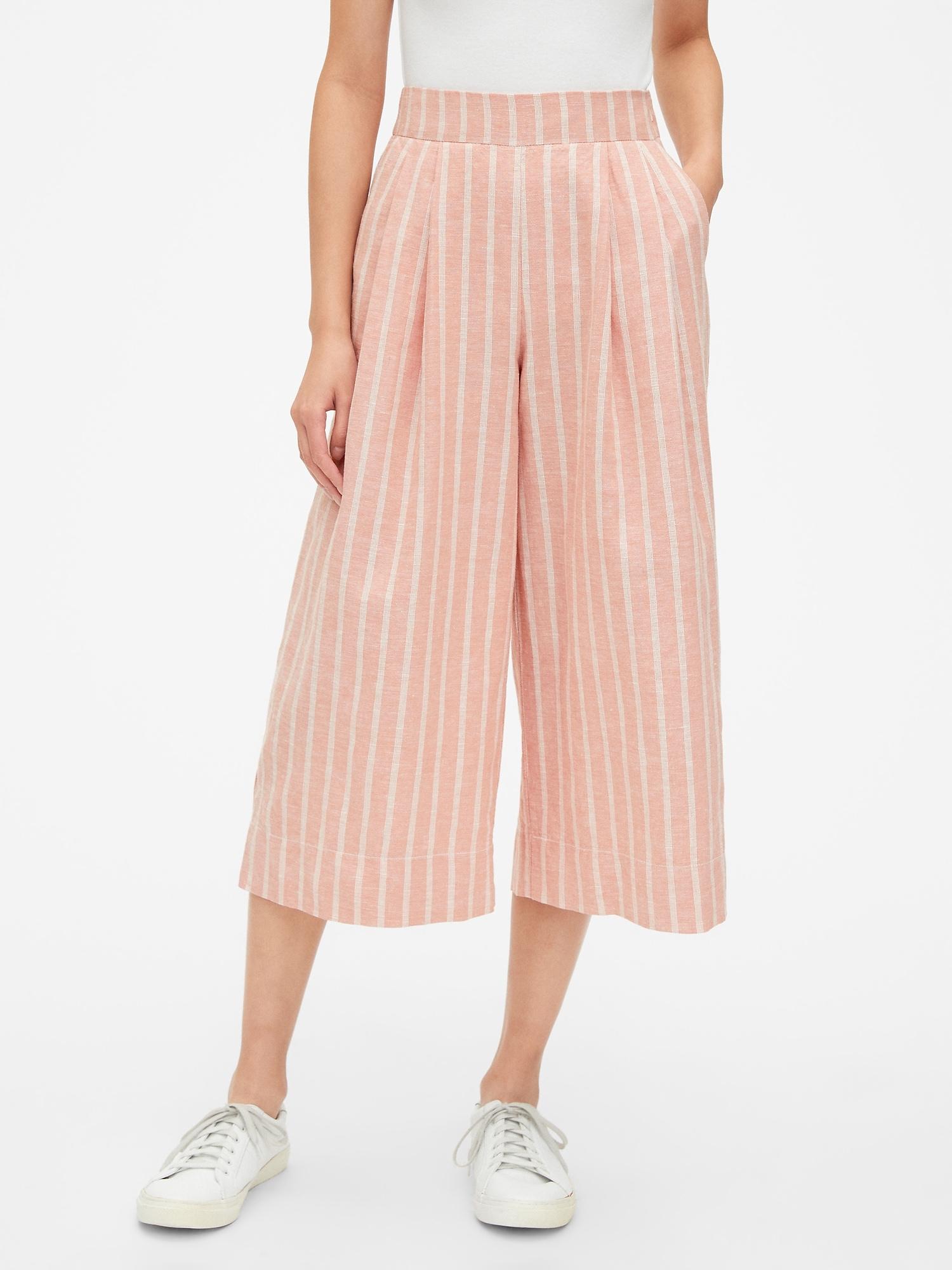 7fb297ba43ab High Rise Stripe Wide-Leg Crop Pants in Linen-Cotton