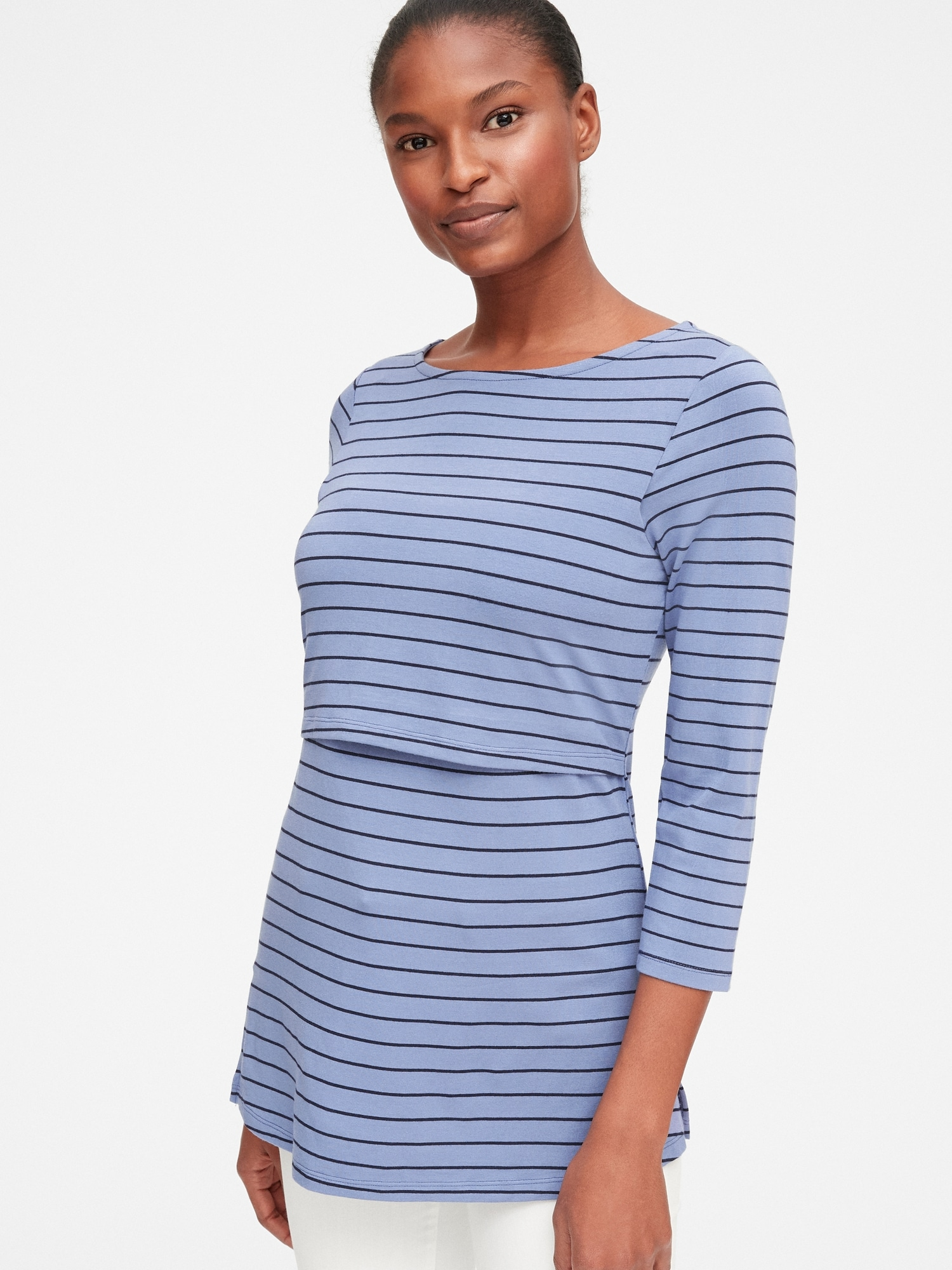 Maternity Stripe Layer Nursing T-Shirt  89fc5b0e0