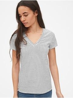T-shirt à col enV  à rayures rétro
