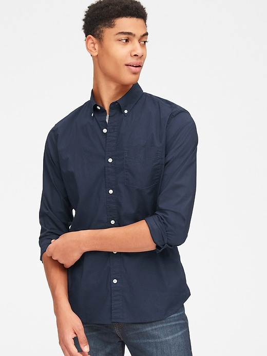 Lived In Stretch Poplin Shirt by Gap