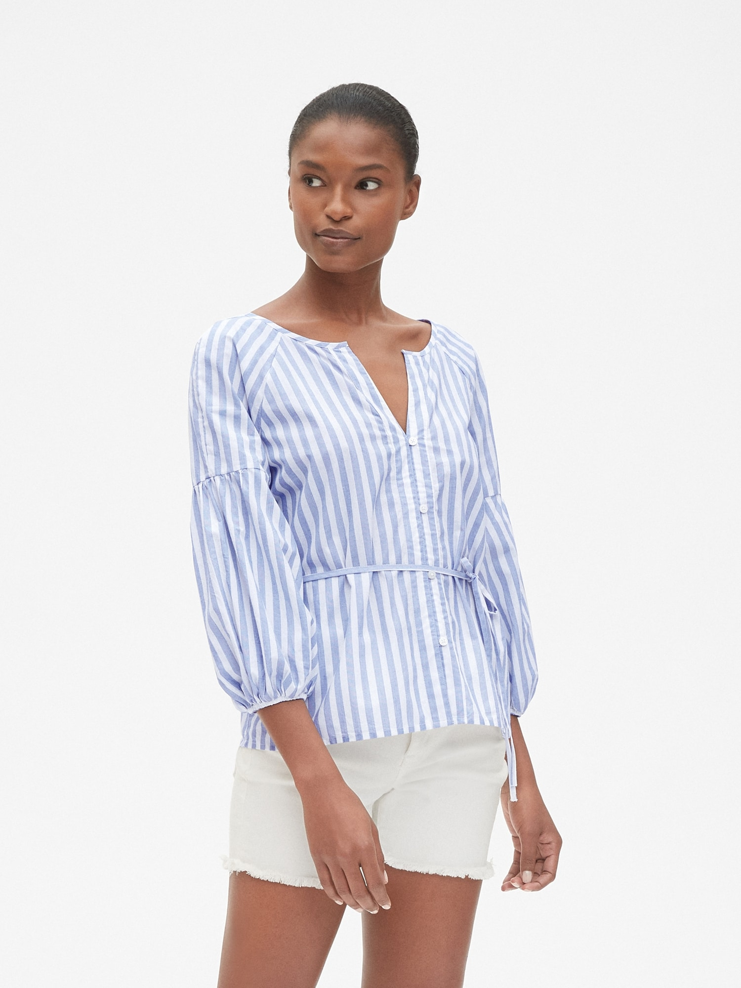 0026384e89977 Balloon Sleeve Stripe Button-Front Blouse in Poplin