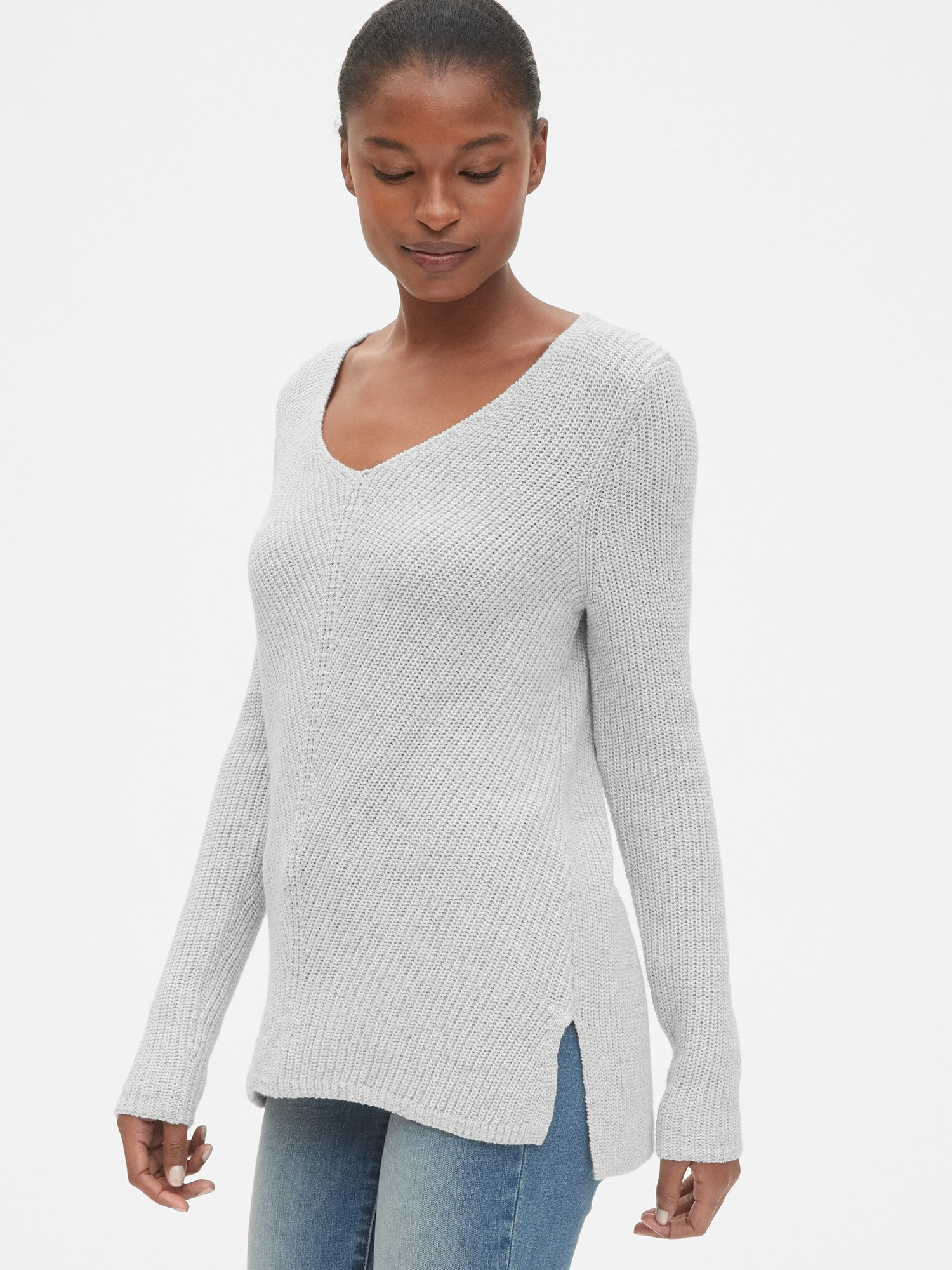 db45b86df Diagonal Ribbed V-Neck Pullover Sweater Tunic