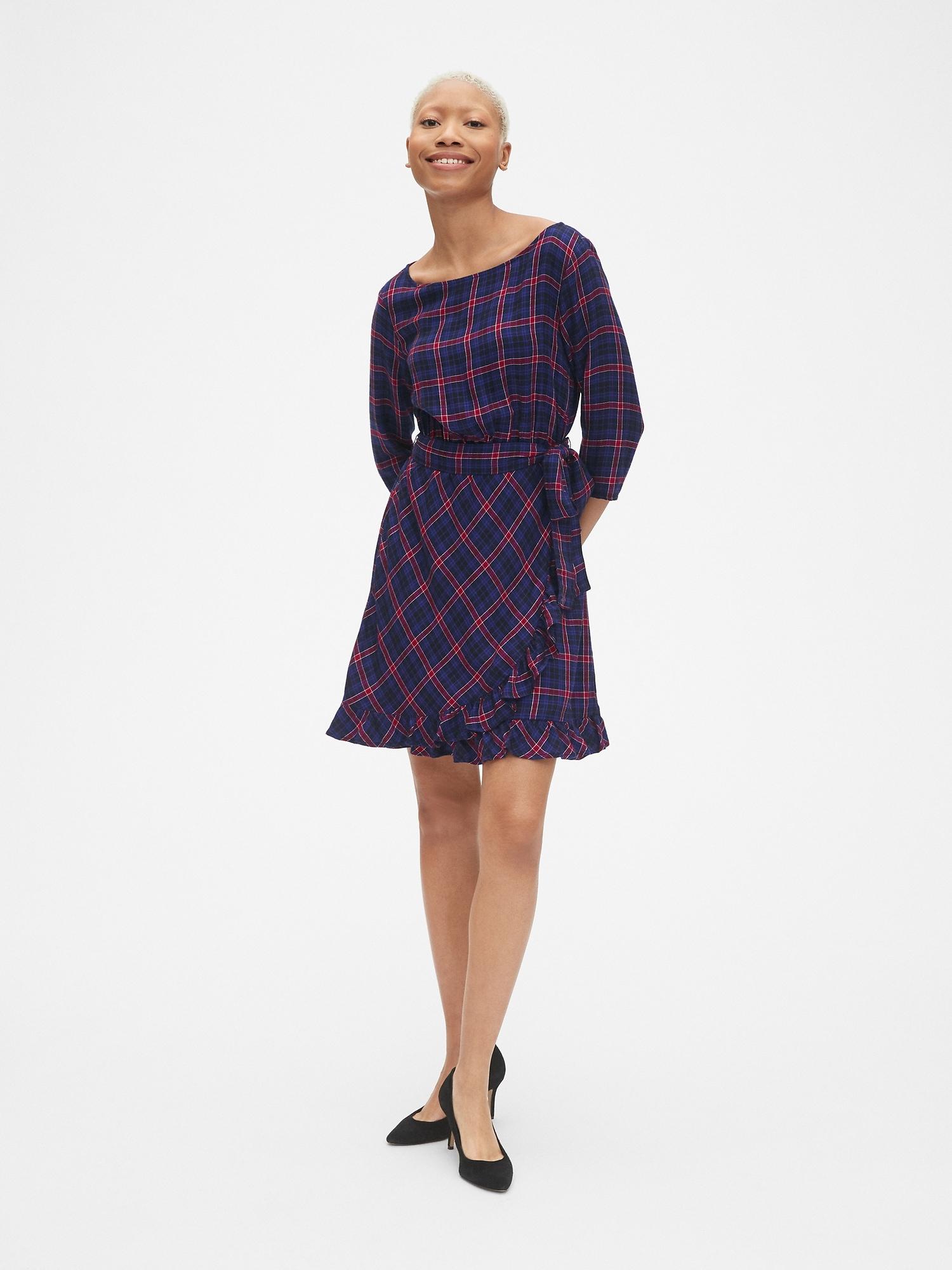 0248db1a0f Plaid Faux-Wrap Ruffle Hem Dress