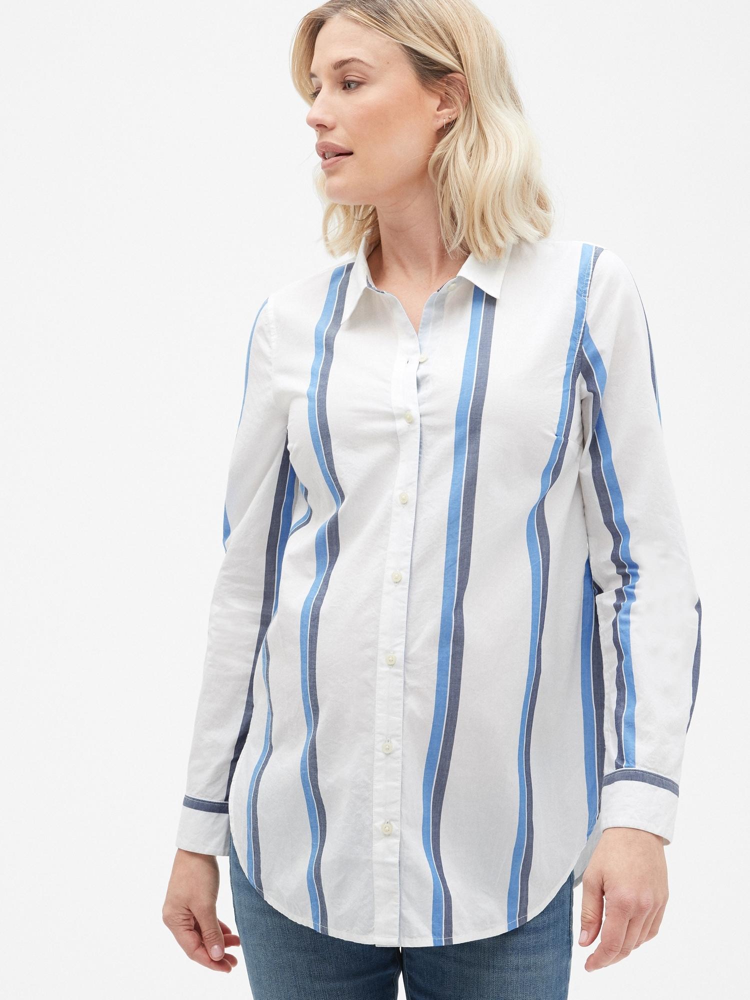 e6984e30 Maternity Tailored Stripe Shirt in Poplin | Gap