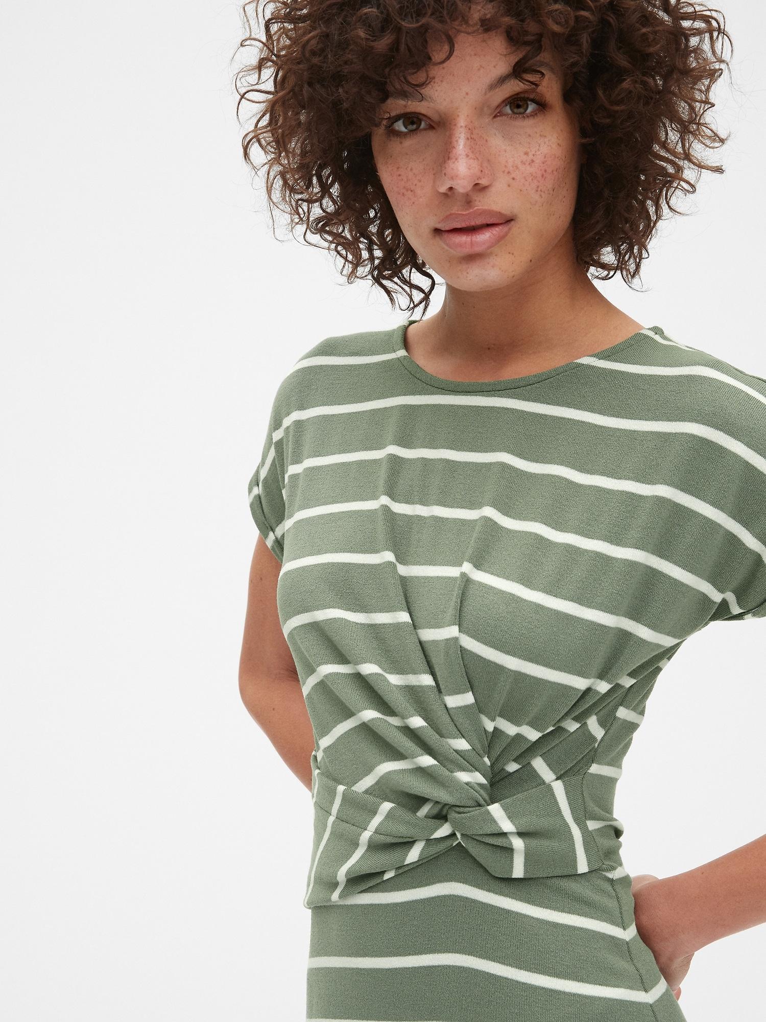 3fc65ce887a Softspun Stripe Short Sleeve Twist-Knot Midi Dress