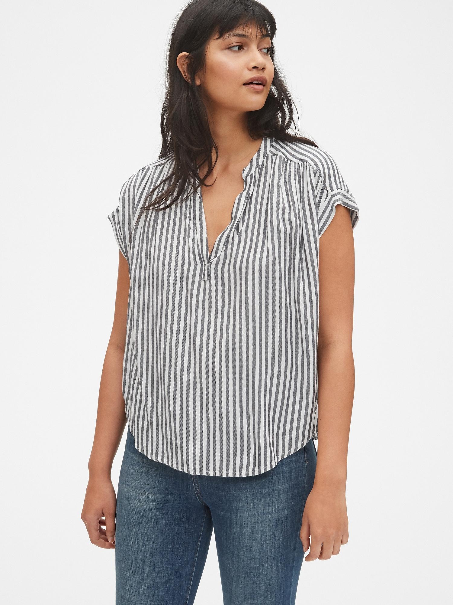84585012c23d2 Short Sleeve Stripe Popover Shirt