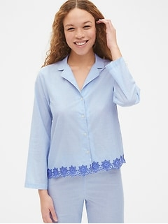 Dreamwell Long Sleeve Stripe Top with Embroidered Detail
