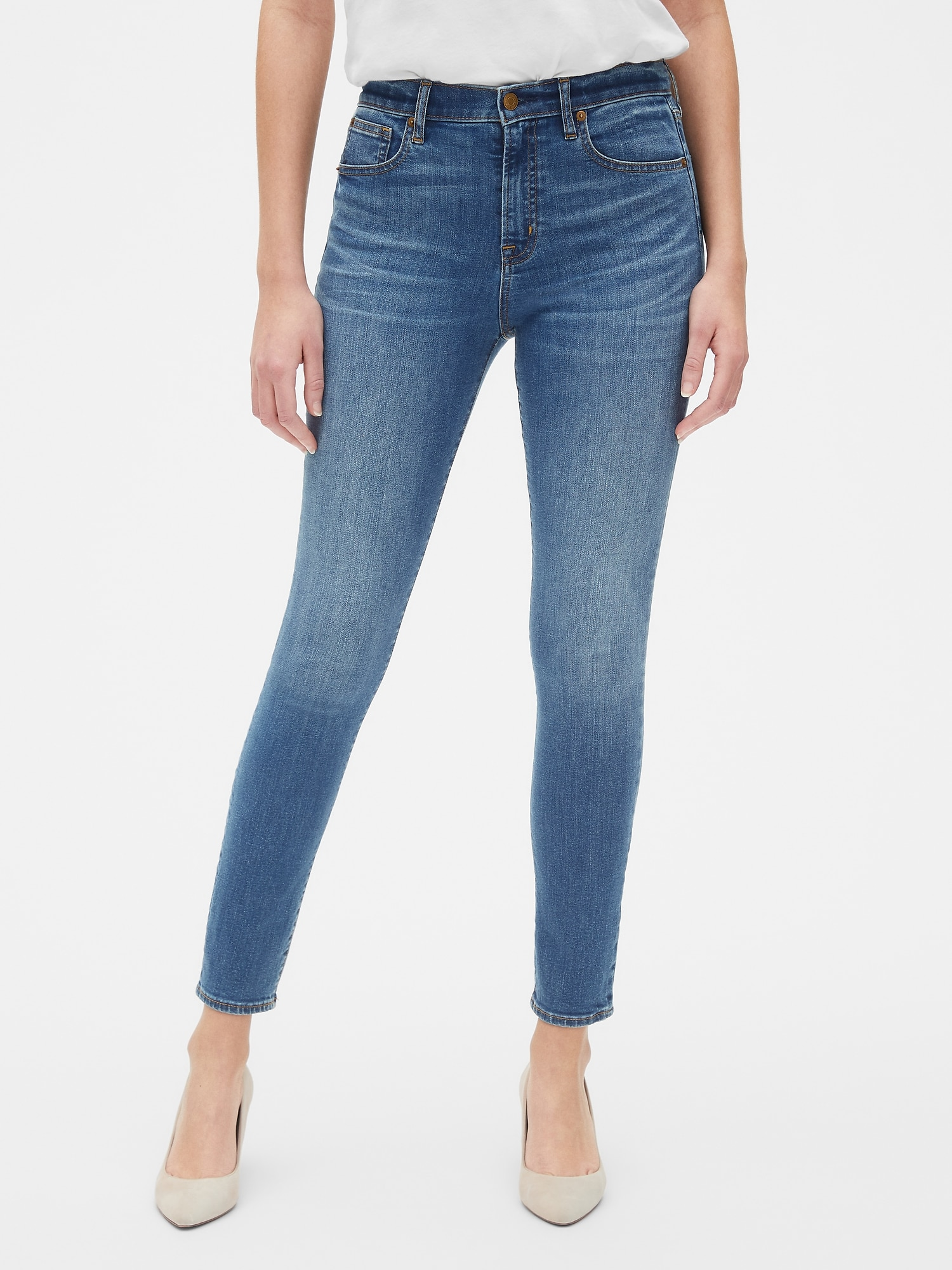 7dfc82d9c3921 High Rise True Skinny Jeans with Secret Smoothing Pockets | Gap