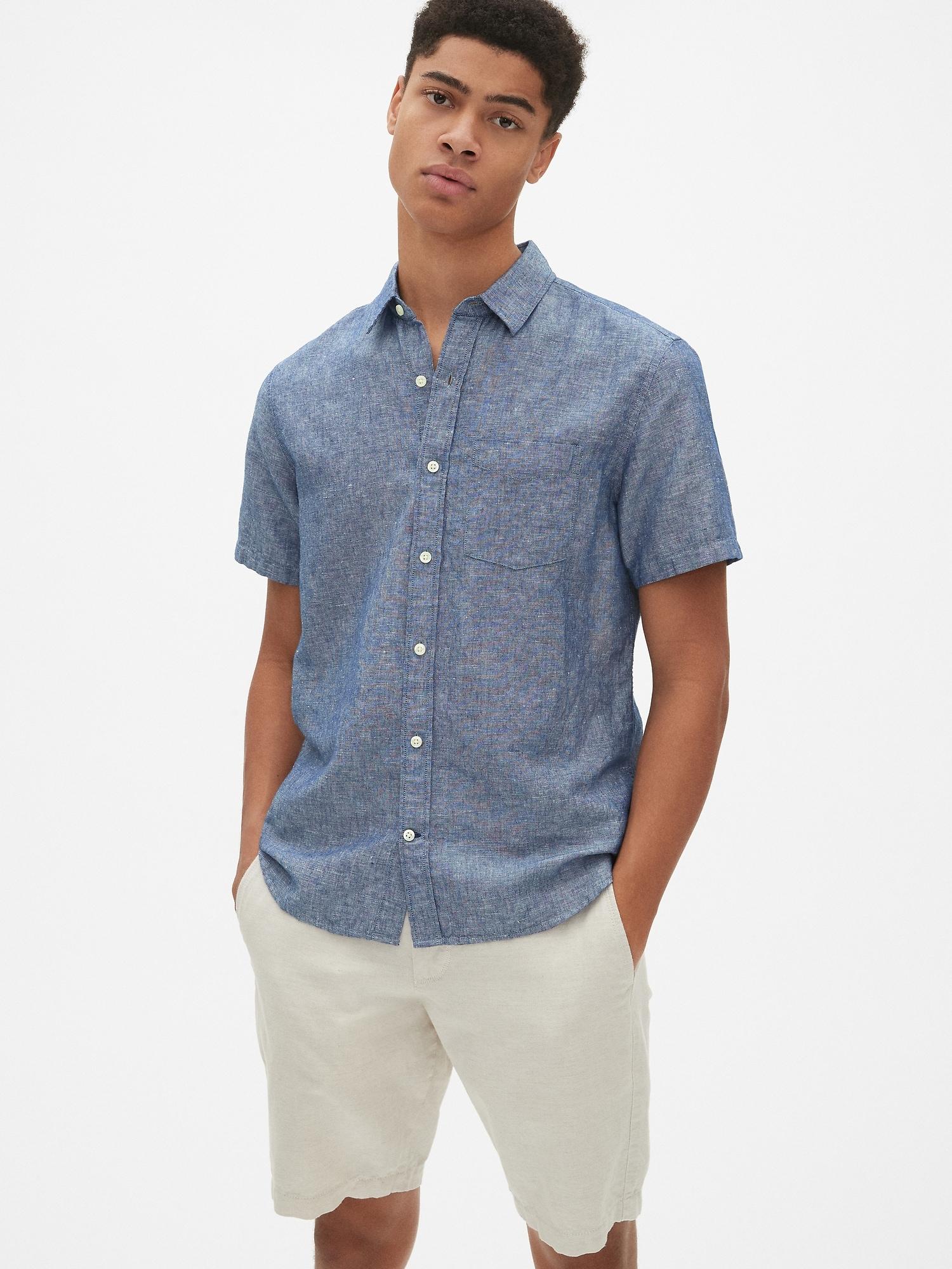 72d080b755 Linen-Cotton Short Sleeve Shirt | Gap