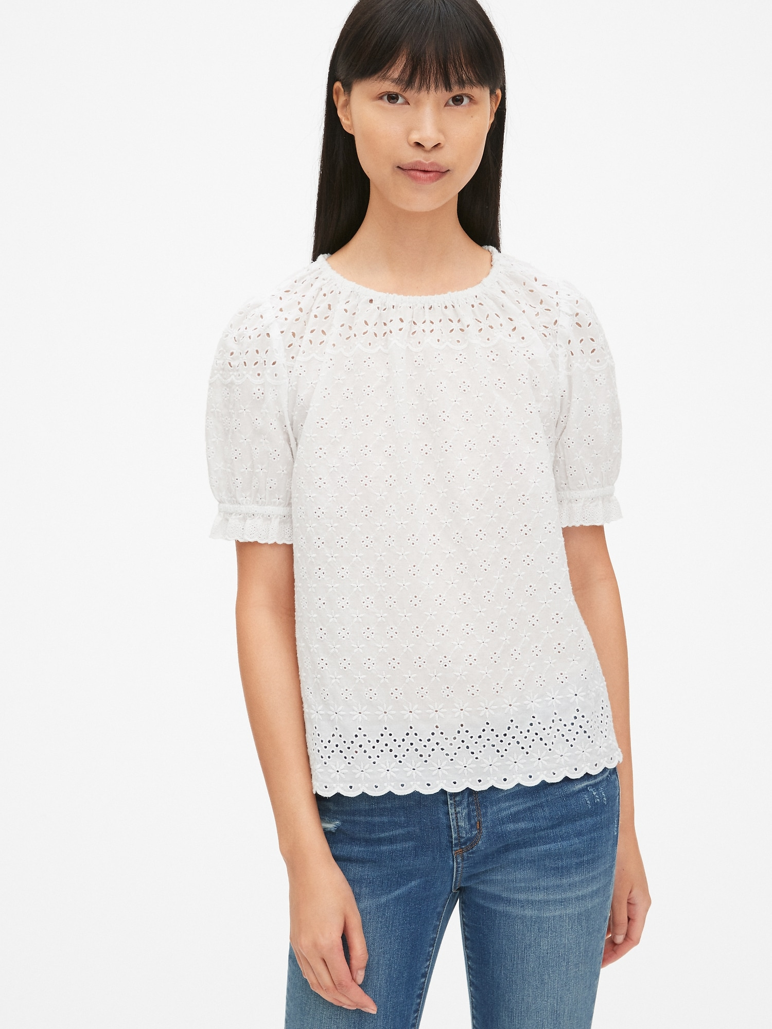 8b43bb82fec6b6 Eyelet Embroidered Puff Sleeve Top
