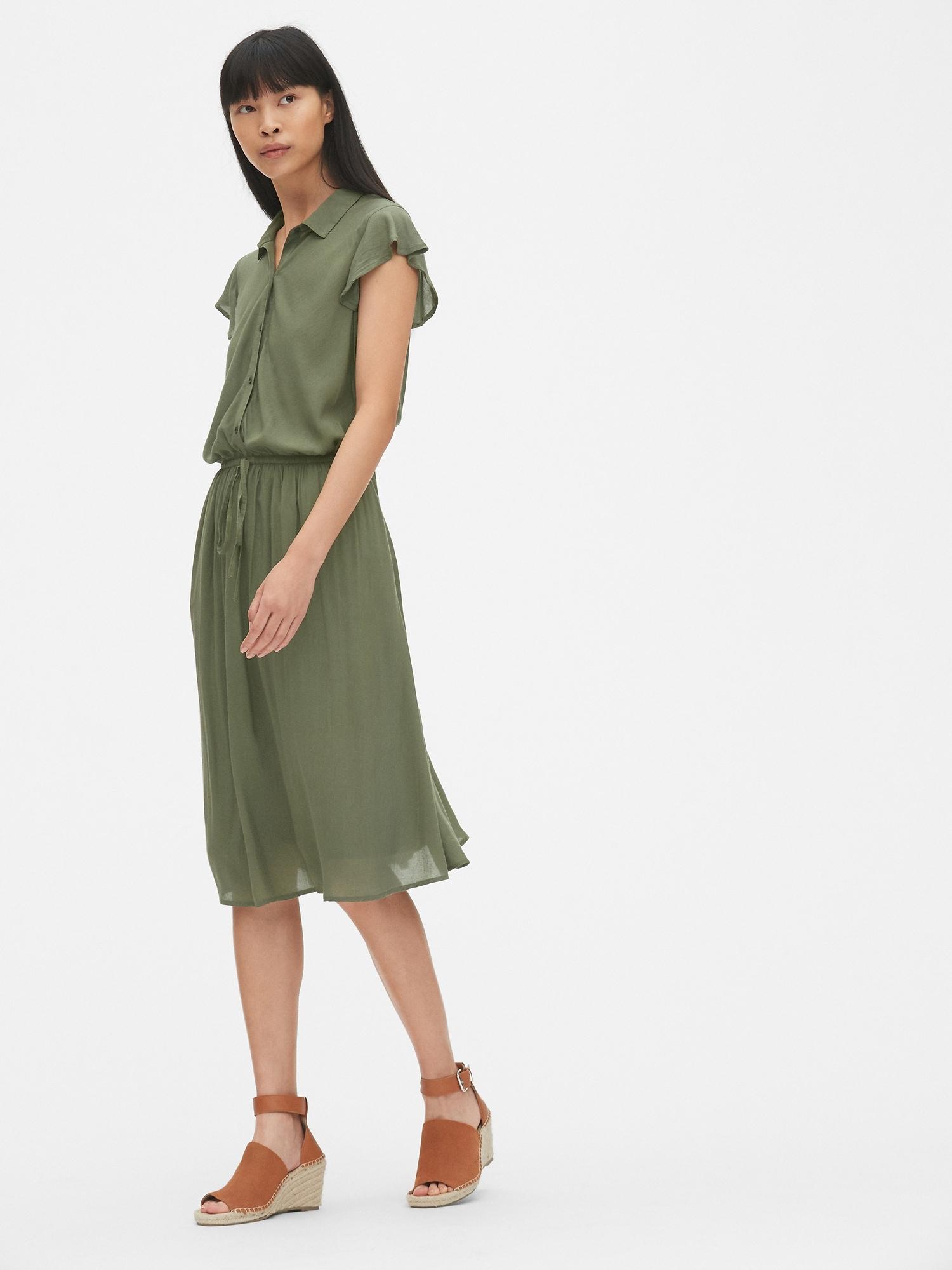 100d2cef523 Perfect Flutter Sleeve Midi Shirtdress