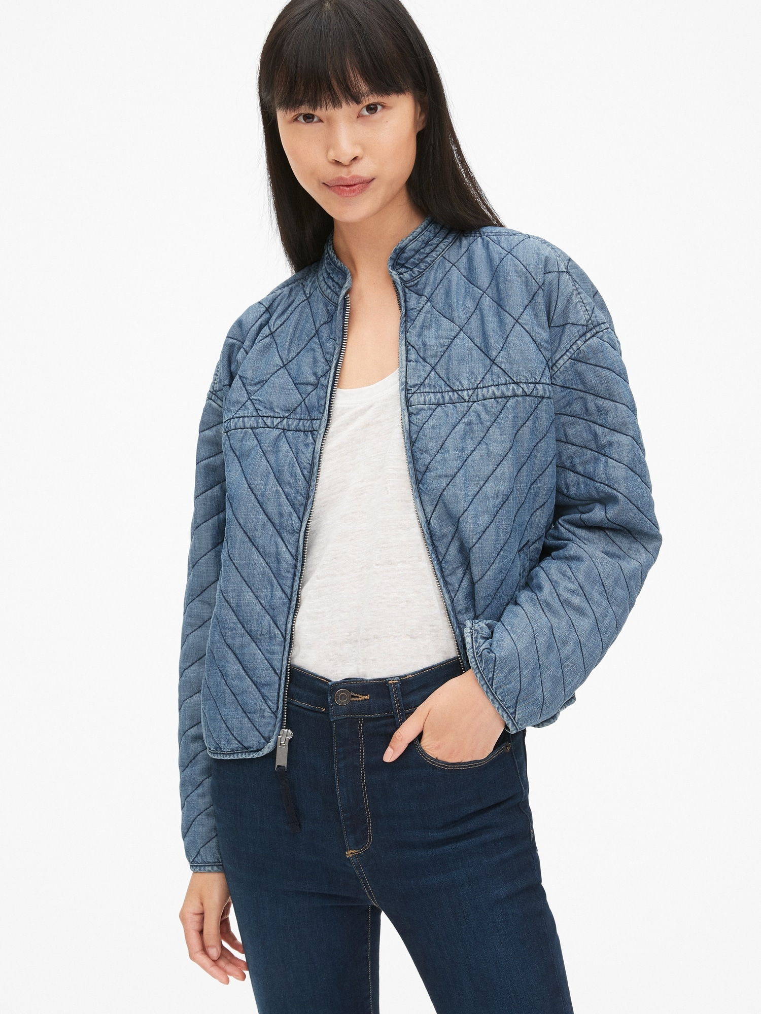 b0b076b162 Quilted Denim Zip-Front Jacket in TENCEL™