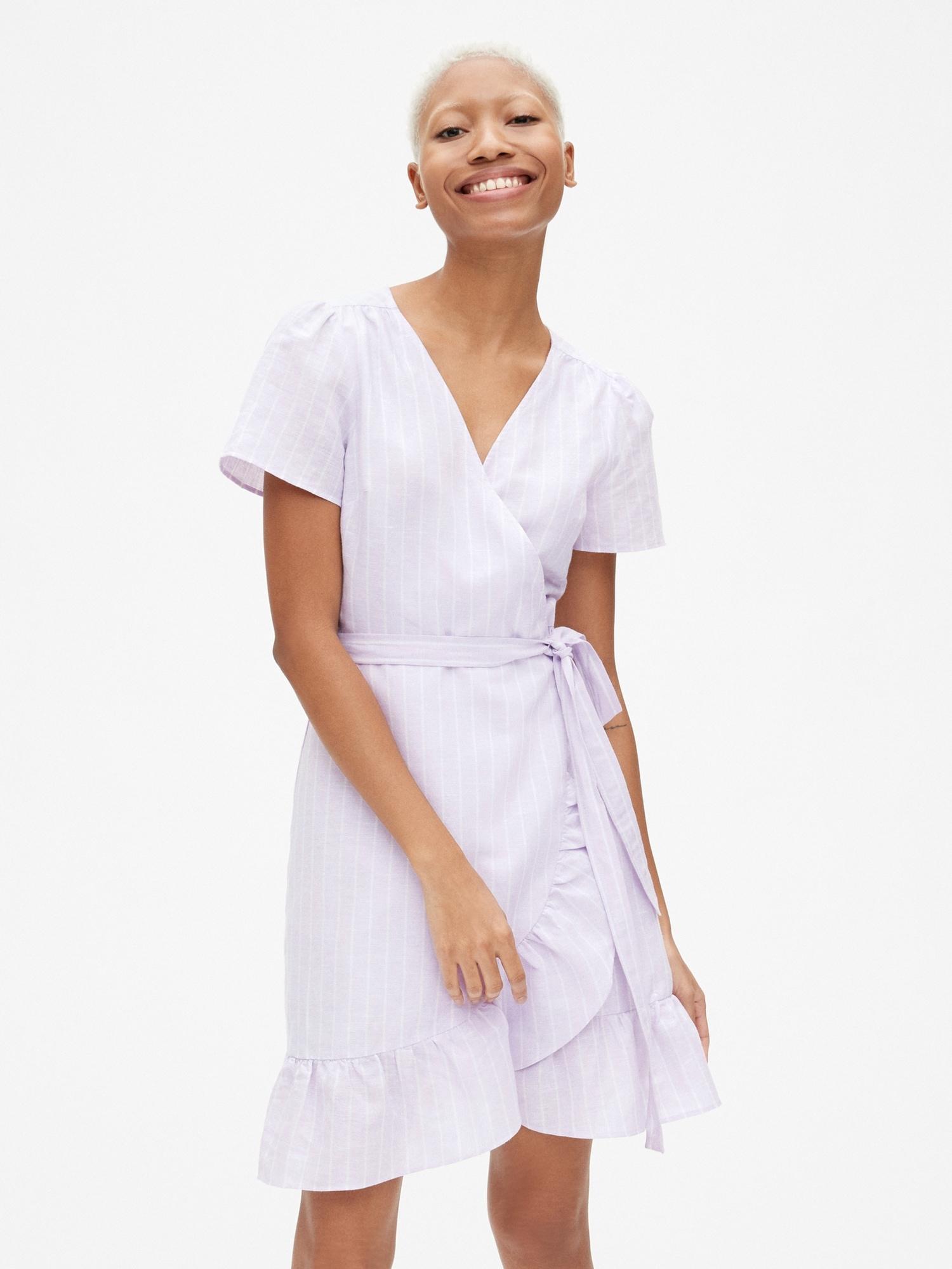 d9ad52712ae Stripe Ruffle Wrap Dress in Linen-Cotton