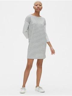 Three-Quarter Sleeve Mix-Stripe T-Shirt Dress