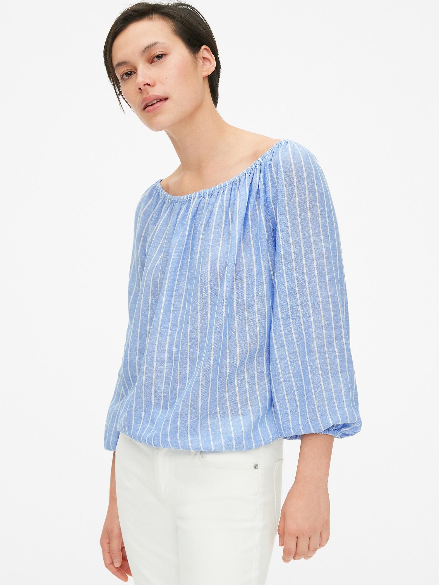 cdae1935c4ca3d Stripe Blouson Sleeve Off-Shoulder Top in Linen