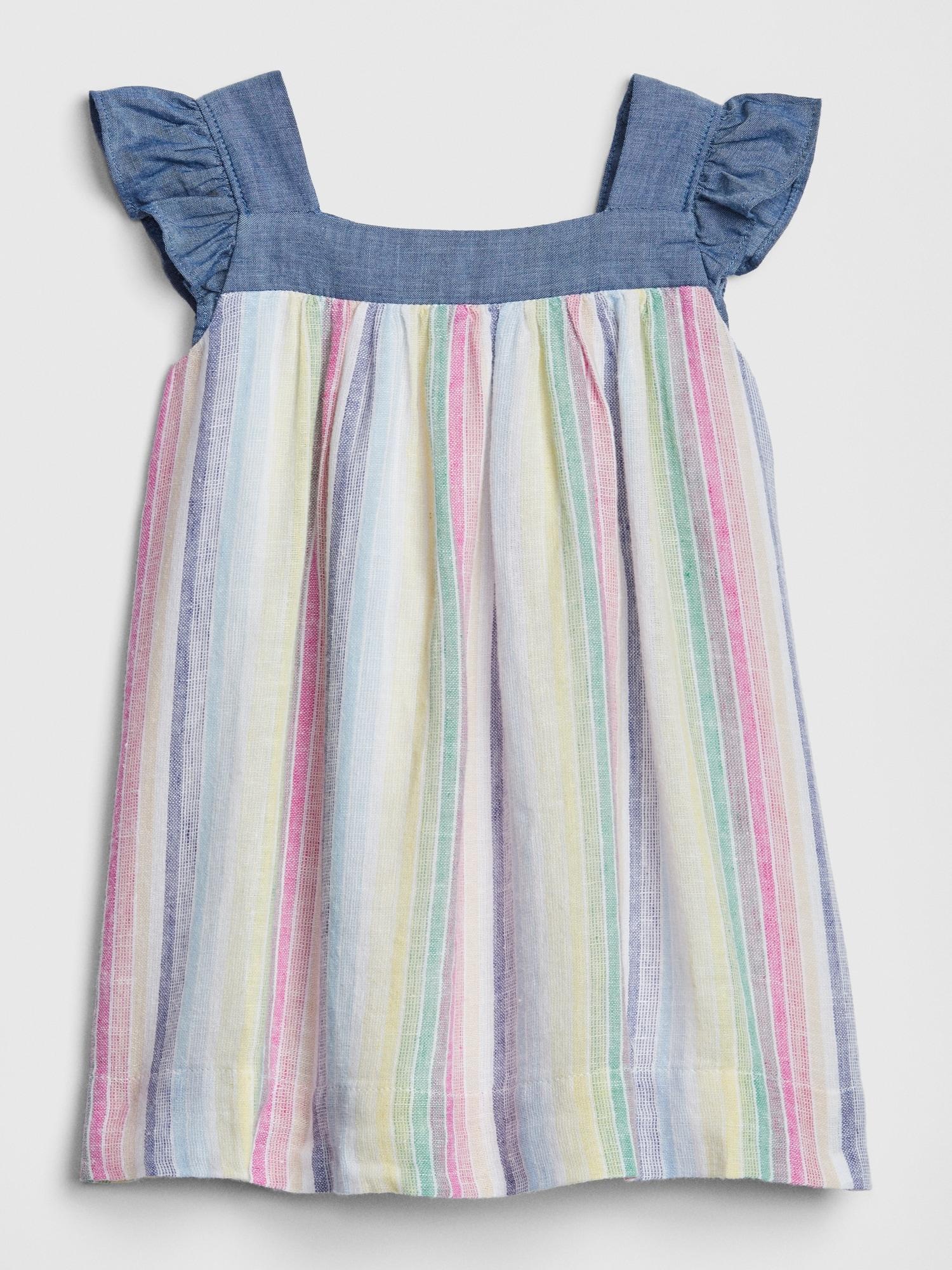 e036ebd682c2 Baby Chambray-Trim Stripe Ruffle Dress | Gap