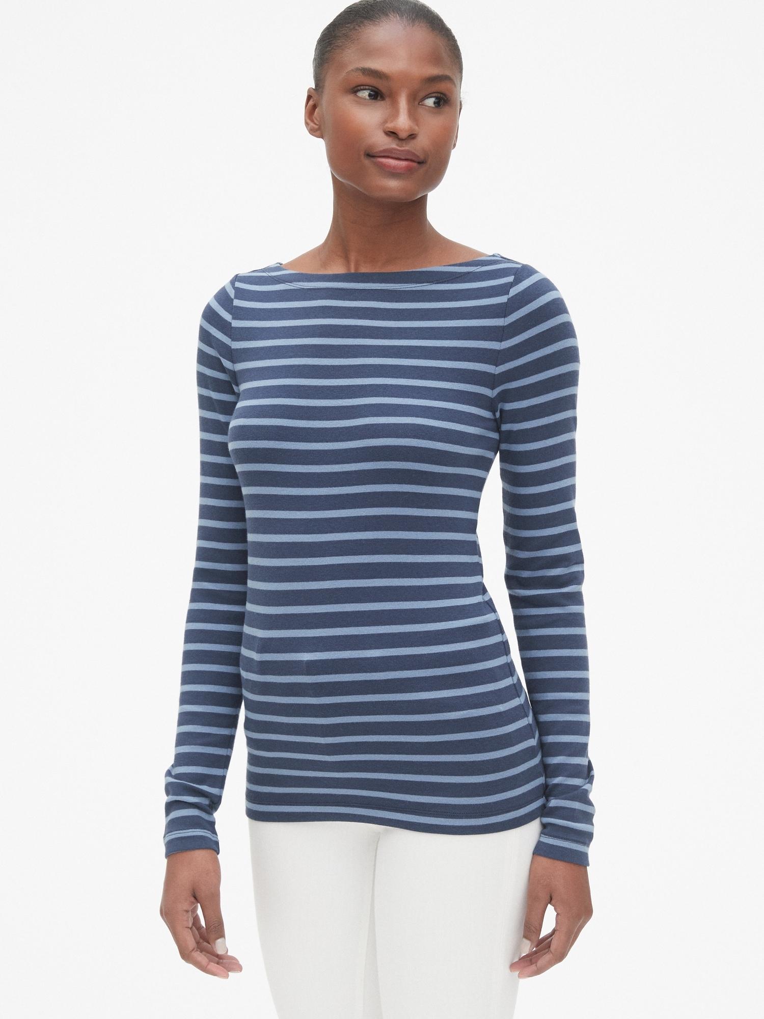 e1911fc0e65fc5 Modern Stripe Long Sleeve Boatneck T-Shirt