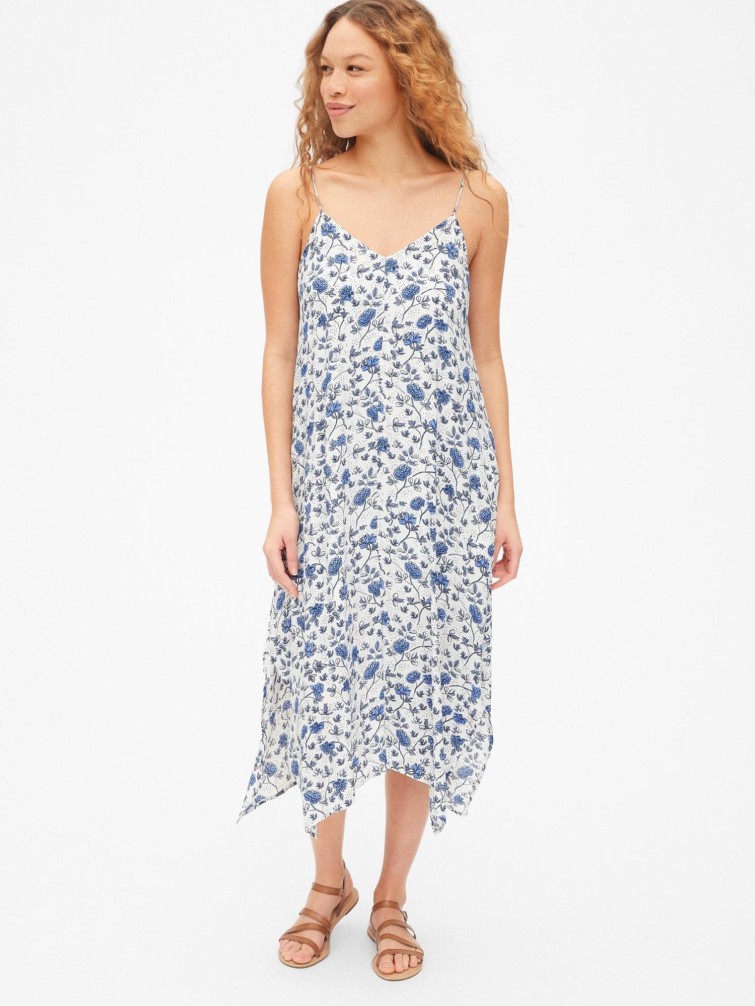 520684dc6fb Cami Floral Print Handkerchief Midi Dress