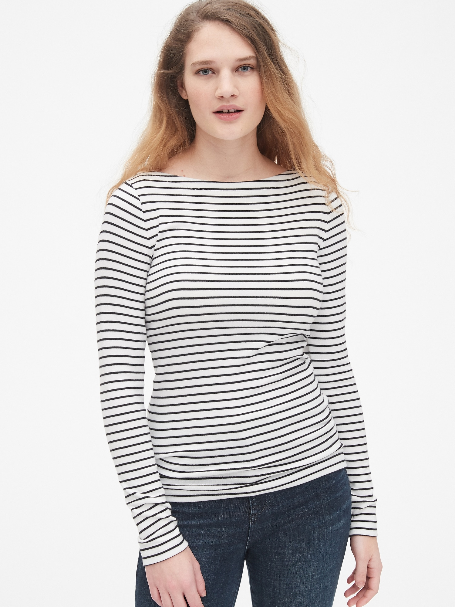 6b3c4537 Modern Stripe Long Sleeve Boatneck T-Shirt | Gap