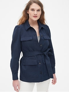 Puff Sleeve Utility Jacket in Linen-Cotton