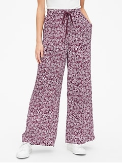 Print Wide-Leg Drawstring Pants